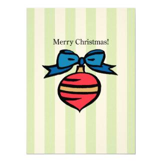 Merry Christmas 6.5 x 8.75 Felt Ecru Invite Green