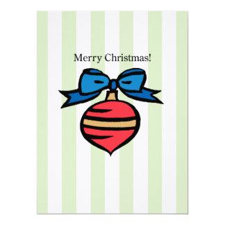 Merry Christmas 6.5 x 8.75 Linen Invitation Green