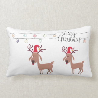 Merry Christmas accent throw pillow with reindeer