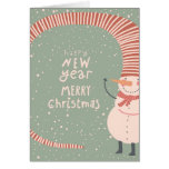 Merry Christmas And A Happy New Year Cartoon Greeting Card