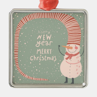 Merry Christmas And A Happy New Year Cartoon Christmas Ornament