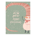 Merry Christmas And A Happy New Year Cartoon Postcard