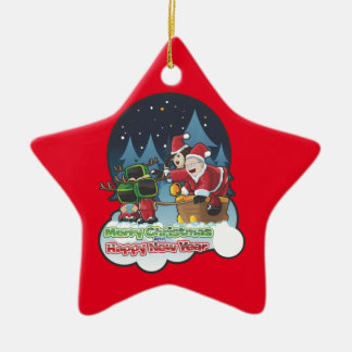 Merry Christmas And A Happy New Year Ceramic Star Decoration