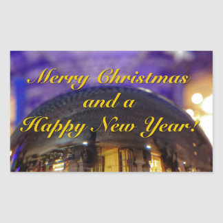 Merry Christmas and a Happy New Year Rectangular Sticker