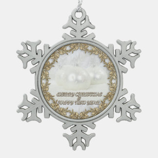 Merry Christmas and a Happy New Year Snowflake Pewter Christmas Ornament