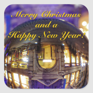 Merry Christmas and a Happy New Year Square Sticker