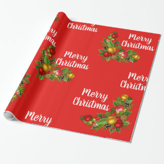Merry Christmas and Colourful Decorations Gift Wrapping Paper
