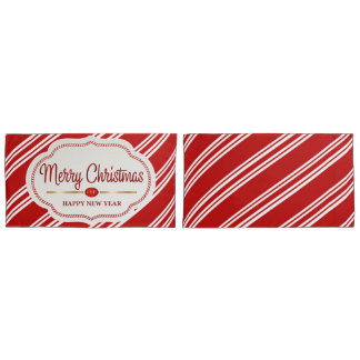 Merry Christmas And Happy New Year Candy Cane Pillowcase