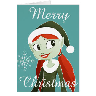 Merry Christmas and Happy New Year Elf Girl Card
