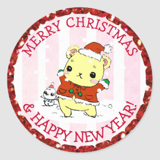 Merry Christmas and Happy New Year Holiday Anime Classic Round Sticker