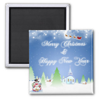 merry christmas and happy new year magnet