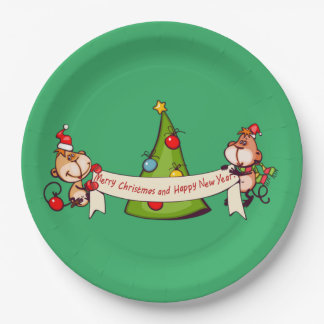 Merry Christmas And Happy New Year Monkeys Paper Plate