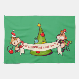 Merry Christmas And Happy New Year Monkeys Tea Towel