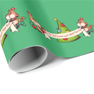 Merry Christmas And Happy New Year Monkeys Wrapping Paper