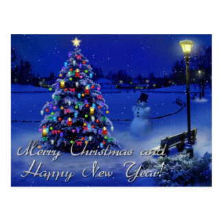 Merry Christmas Happy New Year Postcards | Zazzle.co.uk