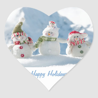 Merry Christmas and Happy New Year Snowmen Heart Sticker