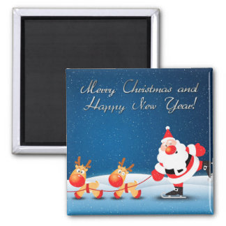 merry christmas and happy new year square magnet