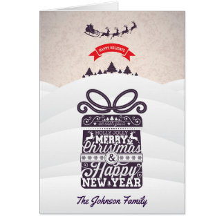 Merry Christmas and Happy New Year typography. Card