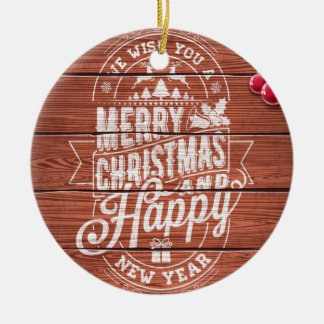 Merry Christmas and Happy New Year typography. Christmas Ornament