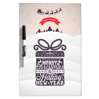 Merry Christmas and Happy New Year typography. Dry Erase Board
