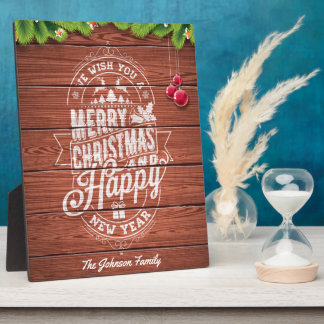 Merry Christmas and Happy New Year typography. Plaque