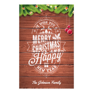 Merry Christmas and Happy New Year typography. Stationery