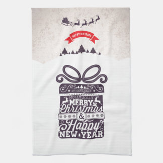 Merry Christmas and Happy New Year typography. Tea Towels