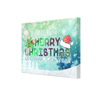 Merry Christmas and Happy New Year Wrapped Canvas Stretched Canvas Prints