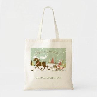 Merry Christmas And Santa With Reindeer Budget Tote Bag