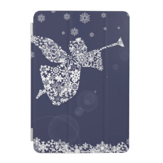 Merry Christmas Angel Blowing Trumpet Silhouette iPad Mini Cover