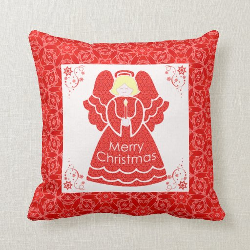 Merry Christmas Angel in Red Lace Throw Pillows
