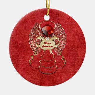 Merry Christmas Angel - Red Christmas Ornament