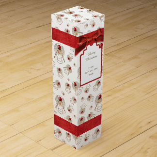 Merry Christmas Angel Red Holiday Pattern Wine Box