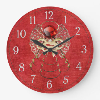 Merry Christmas Angel - Red Large Clock