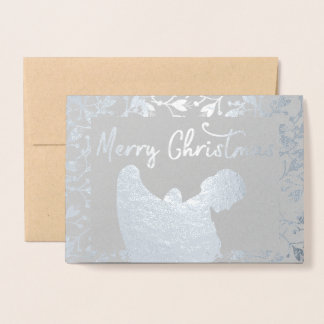 merry christmas Angel Silver Floral Foil Card