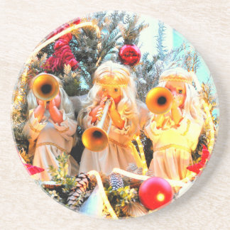 merry christmas angels trumpeting coaster