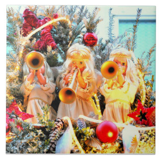 merry christmas angels trumpeting tile