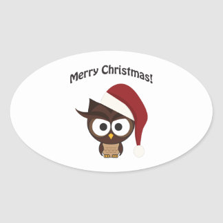 Merry Christmas Angry Owl Oval Sticker