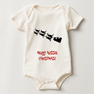 Merry Christmas Baby Apparel, Australian Theme. Baby Bodysuit