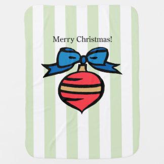 Merry Christmas Baby Blanket Green Stripes