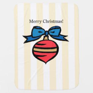 Merry Christmas Baby Blanket Yellow Stripes