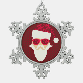 Merry Christmas Background With Santa Hipster Snowflake Pewter Christmas Ornament