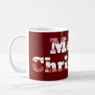 Merry Christmas Bacon Print Coffee Mugs