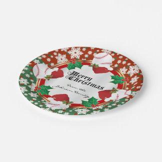 Merry Christmas Baseball Lovers Paper Plate