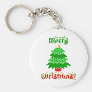 Merry Christmas Basic Round Button Key Ring