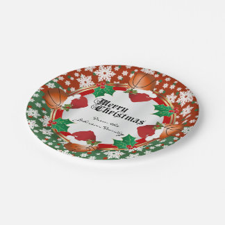 Merry Christmas Basketball Lovers Paper Plate