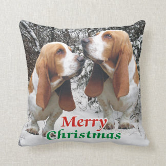 Merry Christmas Basset Hounds Cushion