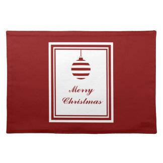 Merry Christmas Bauble Holidays Red And White Placemat