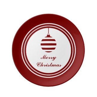 Merry Christmas Bauble Holidays Red And White Plate