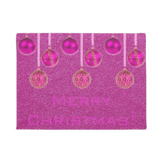 Merry Christmas Baubles Hot Pink Ornament Door Mat